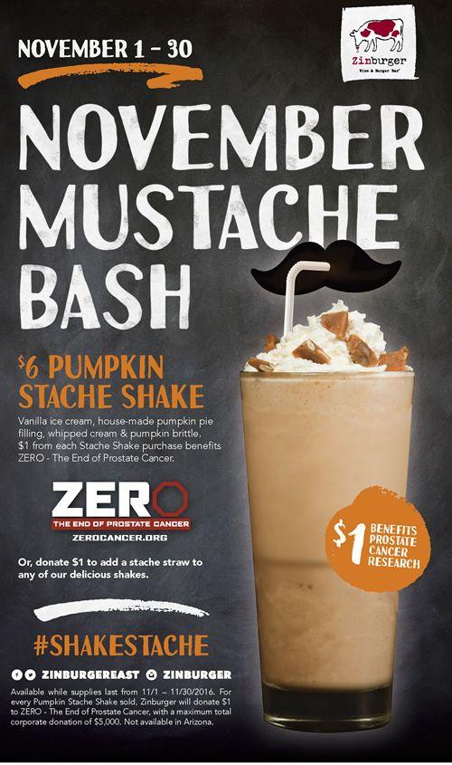 Zinburger Wine & Burger Bar To Help Fight Prostate Cancer with Pumpkin Stache Shake