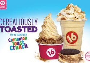16 Handles Launches New Frozen Yogurt Flavor: Cerealiously Toasted, Made with Cinnamon Toast Crunch Cereal!