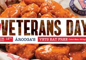 Arooga's To Thank Veterans with Free Meal on Monday, November 12th