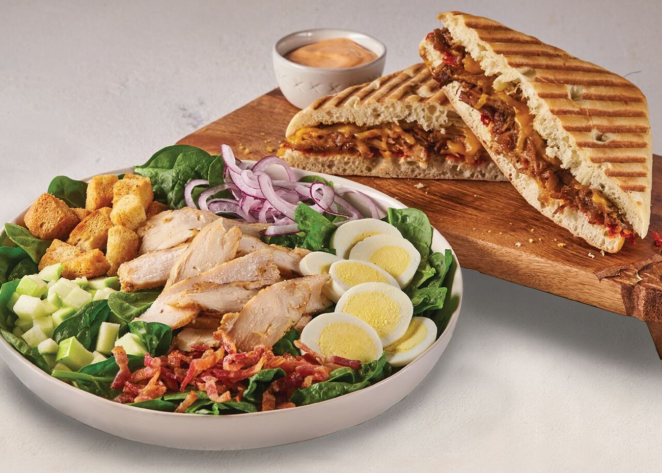 Corner Bakery Cafe Warm Bacon & Spinach Salad with Spicy Balsamic Pulled Pork Panini