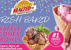 Serve Fresh Baked Waffle Cones & Bowls – Golden Malted Makes it Quick & Easy