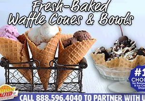 Just in Time for Spring: Fresh Baked Waffle Cones & Bowls from Golden Malted, the World's Largest Supplier of Waffle Cone Irons, Mixes & More!