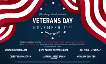 Aspen Creek Grill Honors Servicemen and Women on Veterans Day