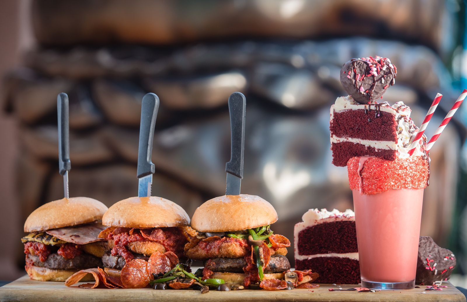 Slater's 50/50 Introduces Pizza Burgers and New Red Velvet Milkshake for a Limited Time