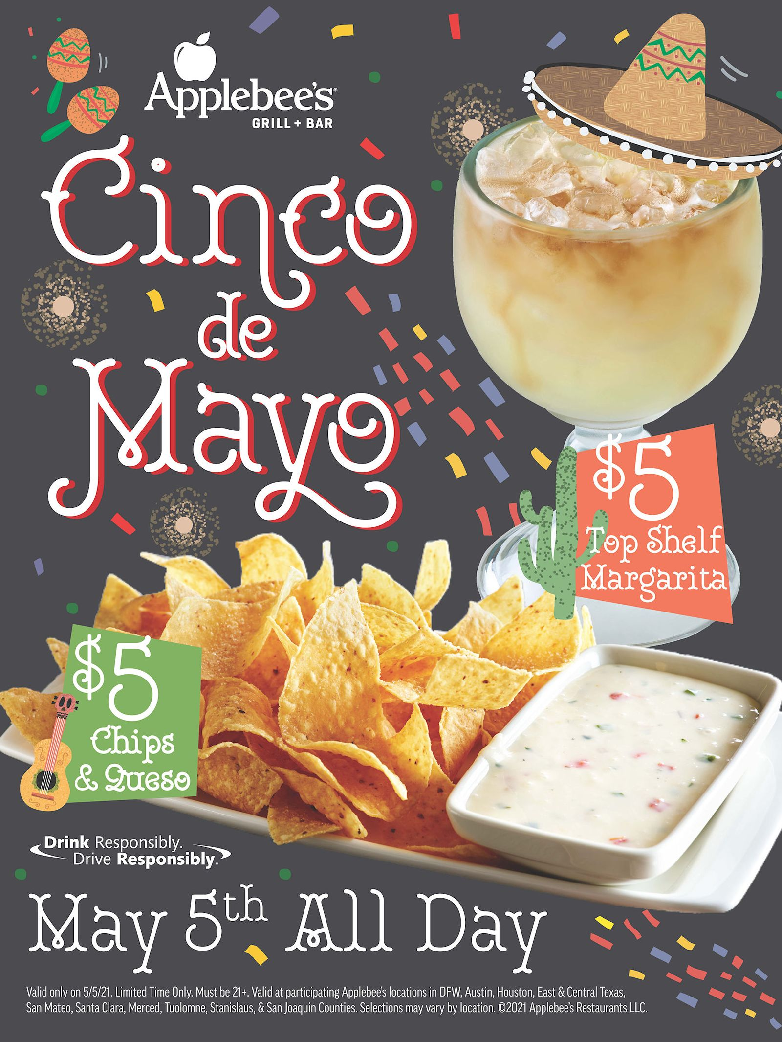 Applebee's Restaurants in the Dallas/Fort Worth Metroplex Will Feature the DOLLARITA - Margaritas for a Buck - for the Rest of May 2021